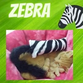 Snuffelzakje gym Zebraprint met staart (gevuld met catnip én valeriaan)