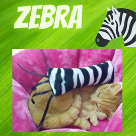 Snuffelzakje gym  Zebraprint met lintjes (gevuld met catnip én valeriaan)