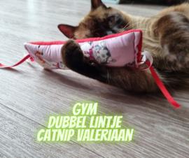 Snuffelzakje gym lief met dubbele lintjes (gevuld met catnip én valeriaan)