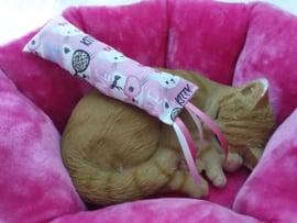Snuffelzakje gym  Geluid Kitty met lintjes (gevuld naar wens+ knisper of belletje)
