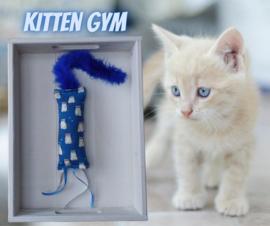 Snuffelzakje gym Kitten (blauw)  met lintjes en staart (gevuld met catnip/ valeriaan)