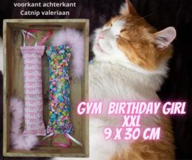 Dubbelzijdig Snuffelzak Gym XXL Birthday Girl  met staart  en lintjes (gevuld met catnip/valeriaan)