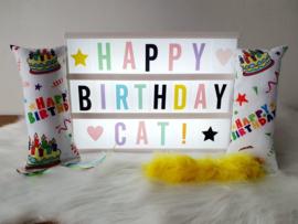 Verjaardag Snuffelzakjeset Happy Birthday met staart en lintjes (gevuld met catnip én valeriaan)