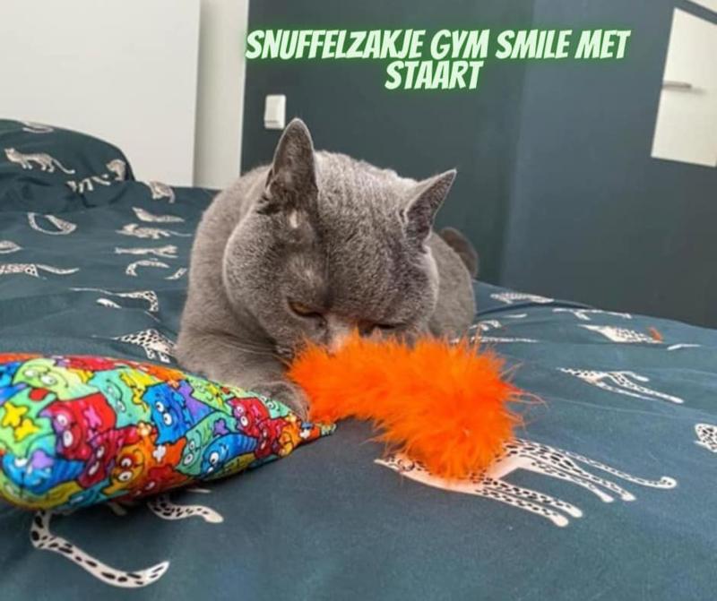 Snuffelzakje gym Smile met oranje staart (gevuld met catnip én valeriaan)