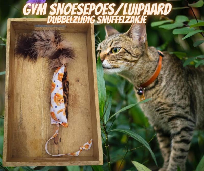 Dubbelzijdig Snuffelzakje  gym Snoezepoes/ Luipaard Lintjes en pluimstaart