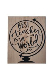 Houten kaart groot 15x20cm Best teacher