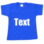 Babyshirt blauw met tekst naar keuze