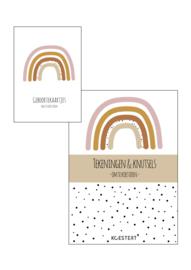 Geboortekaarten  + tekeningen & knutselbundel  pakket | roze