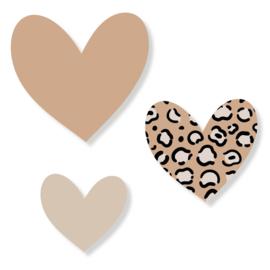 Set harten | leopard ecru