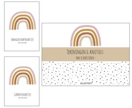 Zwangerschaps kaarten + geboortekaarten + XL tekeningen & knutselbundel pakket | roze