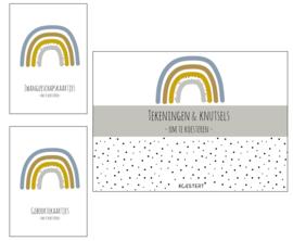 Zwangerschaps kaarten + geboortekaarten + XL tekeningen & knutselbundel pakket | blauw