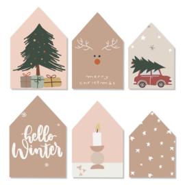 Decohuisjes | set van 3 | winter/kerst | dubbelzijdig