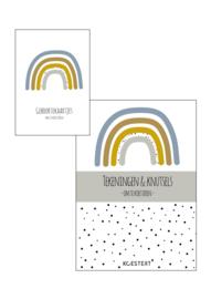 Geboortekaarten  + tekeningen & knutselbundel  pakket | blauw