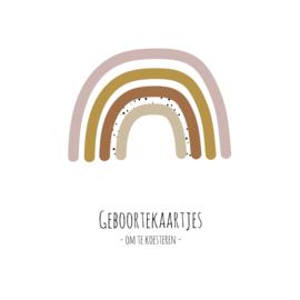 Geboortekaarten XL bundel - roze regenboog