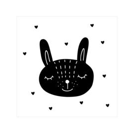 Tegeltje | konijn | zwart-wit