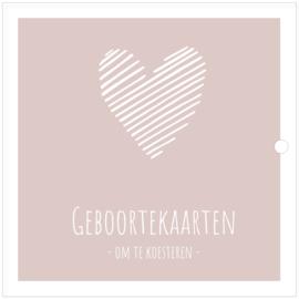 SALE: Geboortekaarten | luxe  XL bundel | roze | hart