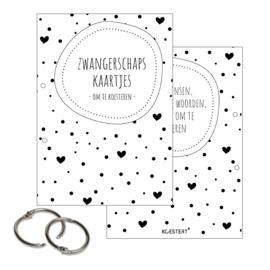 Zwangerschaps kaarten + geboortekaarten + tekeningen & knutselbundel pakket | zwart-wit