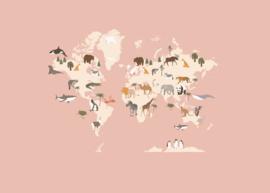 XXL tekeningen- en knutselbundel   wereldkaart roze   A3 formaat