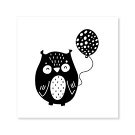 Tegeltje | uil | zwart-wit