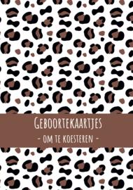 Geboortekaarten bundel - leopard bruin/roest