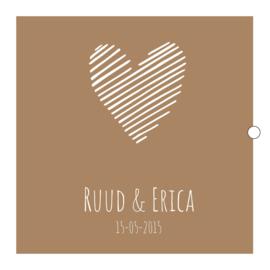 Trouwkaartenbundel   hart   goud / oker