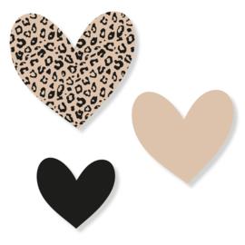 Set harten | leopard zwart