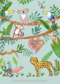 XXL tekeningen- en knutselbundel | jungle aqua | A3 formaat