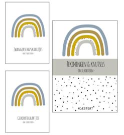 Zwangerschaps kaarten + geboortekaarten + tekeningen & knutselbundel pakket | blauw