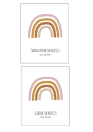 Zwangerschaps kaarten + geboortekaarten pakket (ROZE)