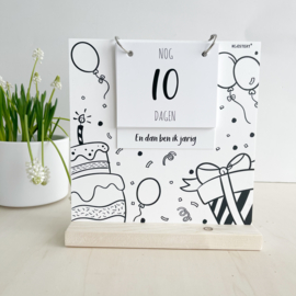 Aftelbord | aftelkalender | verjaardag & vakantie | zwart-wit