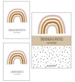 Zwangerschaps kaarten + geboortekaarten + tekeningen & knutselbundel pakket | roze