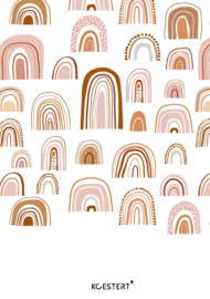 Geboortekaarten bundel | bewaarbundel | regenbogen roze/roest