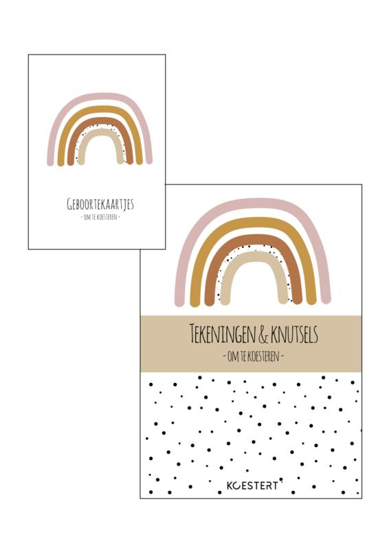 Geboortekaarten  + tekeningen & knutselbundel  pakket   roze