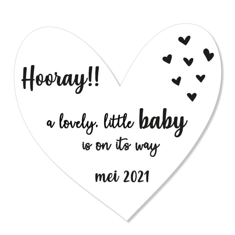 Zwangerschapsaankondiging | hooray | zwart-wit