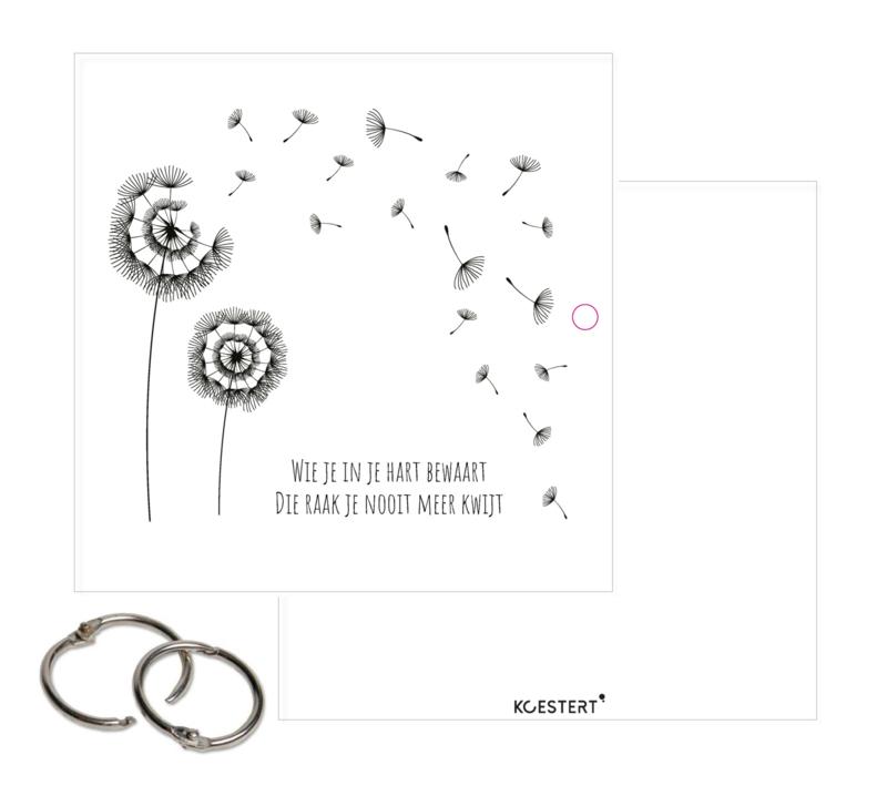 Condoleance kaartenbundel | bewaarbundel | zwart-wit | paardenbloem