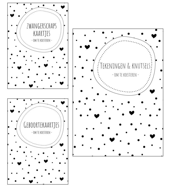Zwangerschaps kaarten + geboortekaarten + tekeningen & knutselbundel pakket   zwart-wit