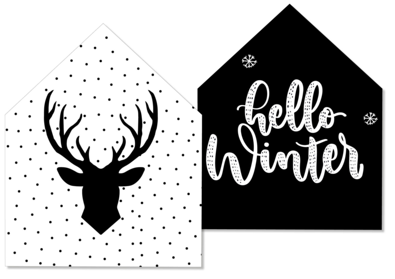 Decohuisje winter/kerst   XL   dubbelzijdig