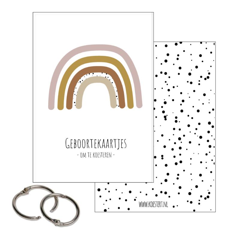 Geboortekaarten bundel | bewaarbundel | roze regenboog