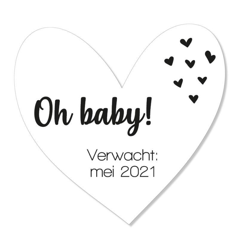 Zwangerschapsaankondiging | oh baby | zwart-wit