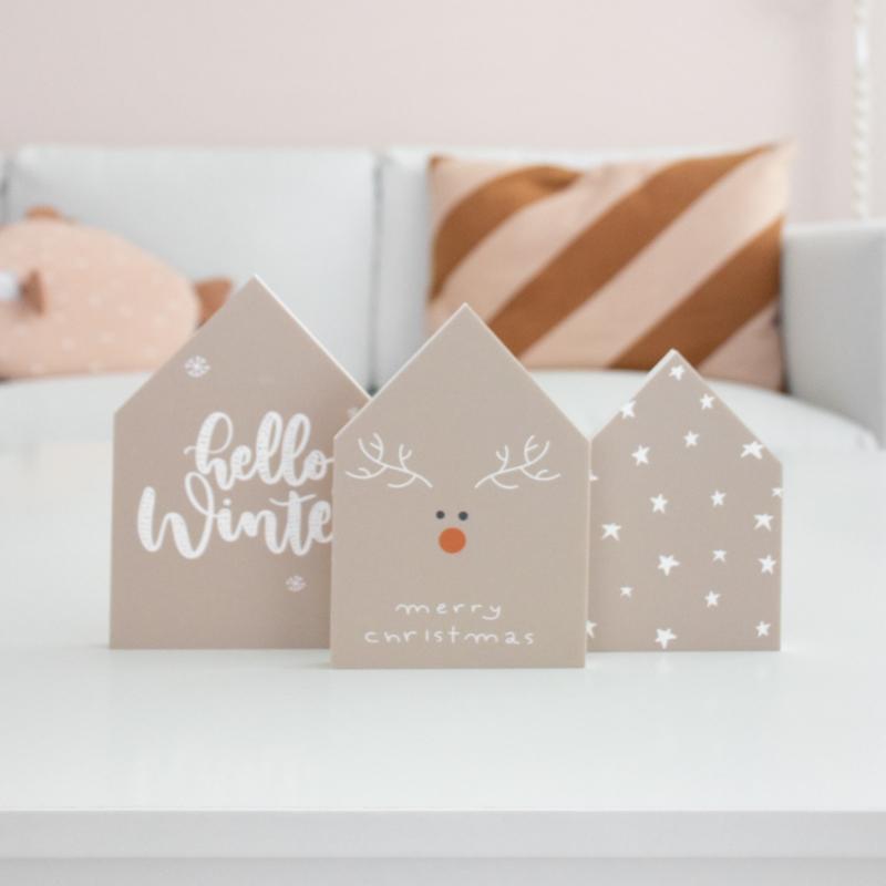 Decohuisjes   set van 3   winter/kerst   dubbelzijdig