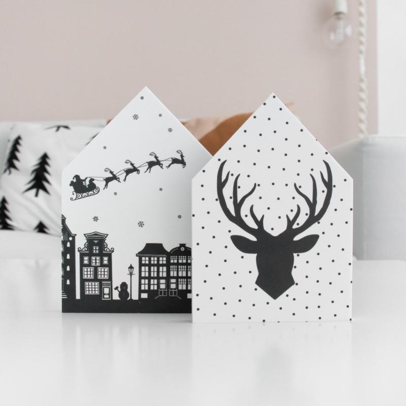 Decohuisjes | set van 2 | winter/kerst | dubbelzijdig