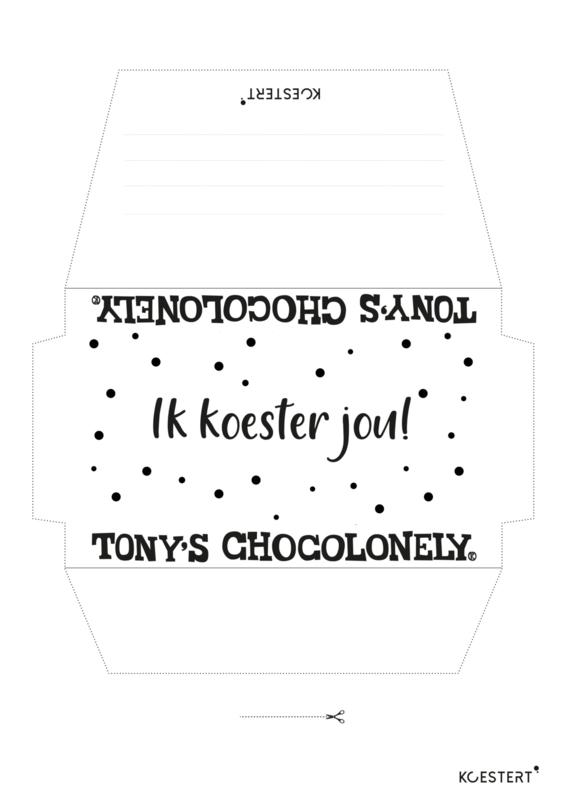 Tony Chocolonely wikkel | ik koester jou | free printable