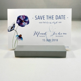 Save the Date kaart thema viooltjes