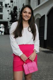Roze rok met veertjes