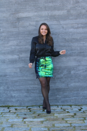 Blue/Green/Black Sequins Skirt