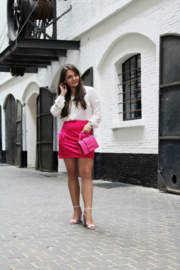 PINK MINI SKIRT WITH FEATHERS