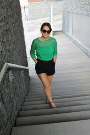 Groene blouse met kant