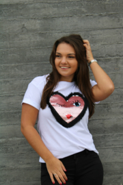 White Sparkly Heart T-shirt