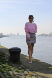 PLAID SKIRT WITH PINK DETAIL