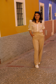 BEIGE SHIMMERY FLARED TROUSERS